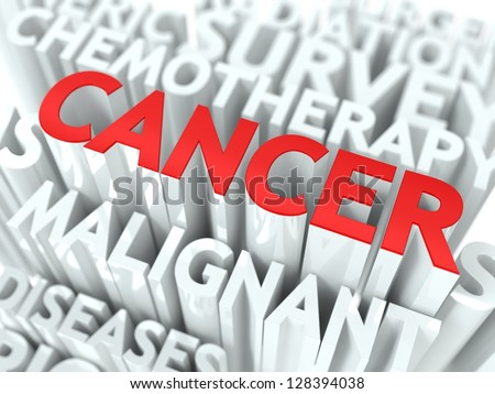 Cancer Background Design. Word of Red Color Located over Word Cloud of White Color. - stock photo