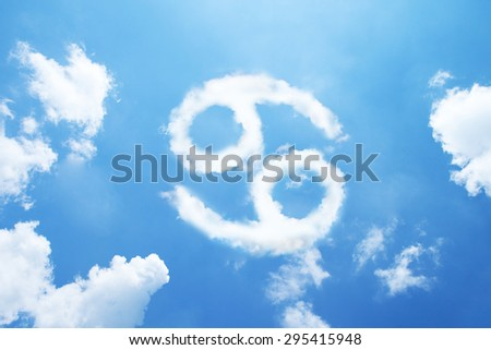 Cancer cloud zodiac sign on sky. - stock photo