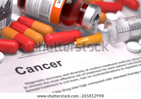Cancer Diagnosis. Medical Concept with Composition of Medicaments - Red Pills, Injections and Syringe. Selective Focus. 3D Render. - stock photo