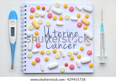 Cancer Of The Endometrium. Uterine Cancer. Diagnosis sign on white background. - stock photo
