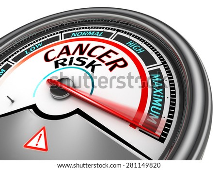 Cancer risk conceptual meter indicate maximum, isolated on white background - stock photo