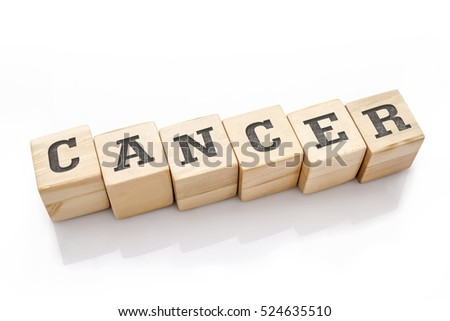 CANCER word made with building blocks isolated on white