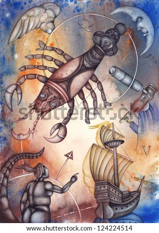 Cancer. Zodiac sign, symbol in watercolor style. Part of a set ot 12. Illustration by Eugene Ivanov. - stock photo