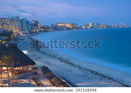 Cancun at night, Mexico - stock photo