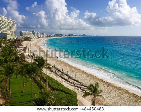 Cancun beach, Cancun, Mexico, JULY 10th, 2016: Hotel zone beach with white sand and blue ocean