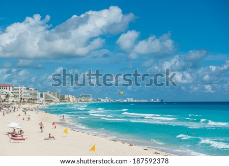 Cancun beach panorama, Mexico - stock photo