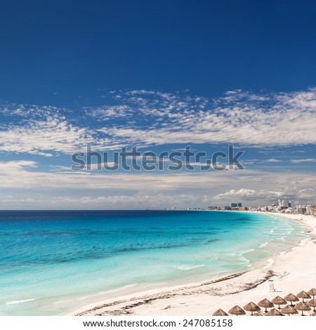 Cancun beach panorama view, Mexico  - stock photo