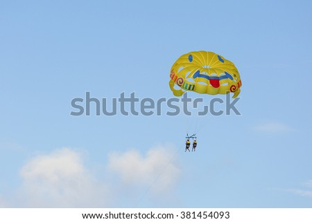 Cancun, Mexico - February 17, 2016: parachute ride over Cancun at Cancun, Mexico.