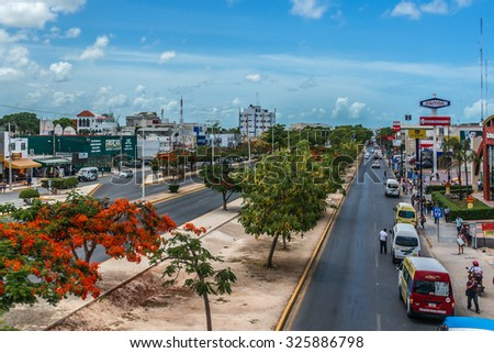 CANCUN, MEXICO - JULY 14, 2015: Cityscape of Cancun. Cancun is a city in southeastern Mexico, located on the northeast coast of the Yucatan Peninsula. - stock photo