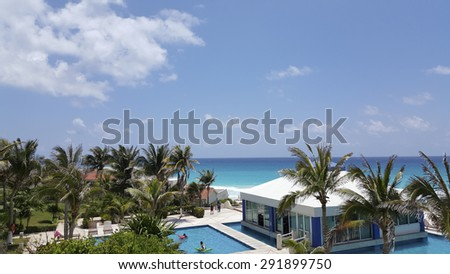 CANCUN, MX - May 18, 2015: Restaurant at Solymar Beach and Resort hotel surrounded by endless pool, Cancun, Mexico