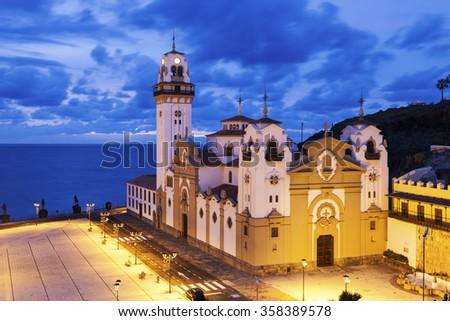 Candelaria Church at night. Candelaria, Santa Cruz de Tenerife, Tenerife, Canary Islands, Spain. - stock photo
