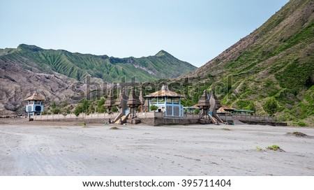 Candi Bentar temple , Small temple at volcanic plateau of Bromo mountain, East Java, Indonesia - stock photo