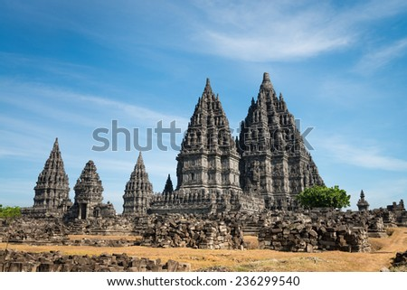 Candi Prambanan or Candi Rara Jonggrang is a 9th-century Hindu temple compound in Central Java, Indonesia. - stock photo