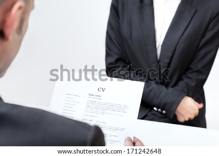 Candidate for a new job with his cv - stock photo