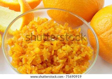candied in sugar orange skin and fruits