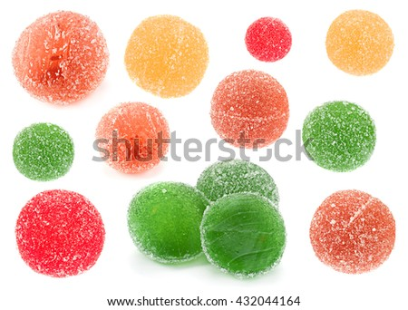 Candied round fruit jelly collection isolated on white background