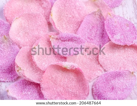 Candied sugared roses petals, background - stock photo