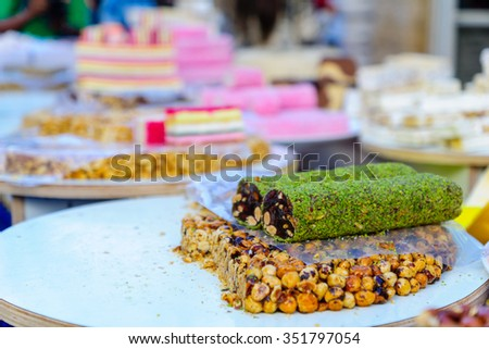 Candies and sweets on sale in a Christmas market - stock photo