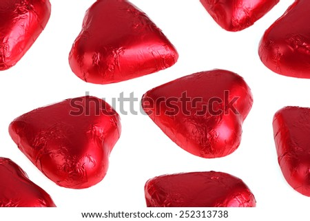 Candies in the form of red hearts