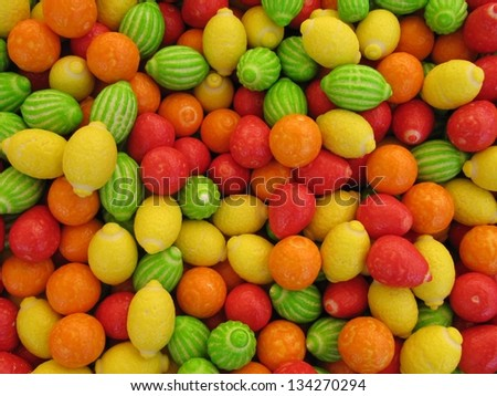 Candies sweet fruit and citrus flavors mix. - stock photo