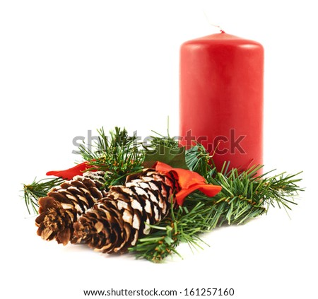 Candle and fir-tree branch christmas decoration composition isolated over white background - stock photo
