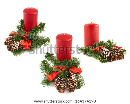 Candle and fir-tree branch christmas decoration composition isolated over white background, set of three foreshortenings - stock photo
