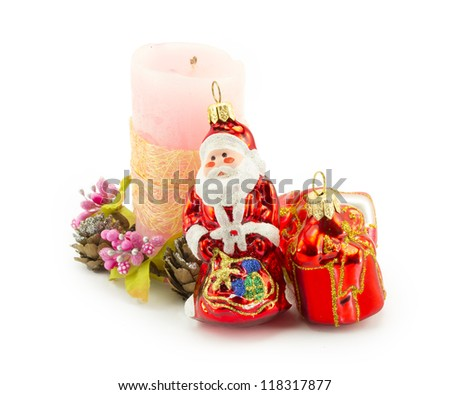 candle, christmas isolated on white background