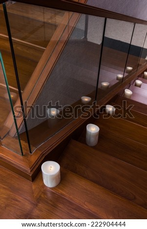 candle decoration on the stair - stock photo