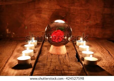 candle divination tarot cards - stock photo
