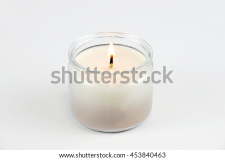 candle flame fire of decorative candle on white background