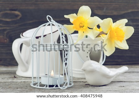 Candle in bird cage with spring flowers in vase on wooden table. Spring, easter or gardening concept - stock photo
