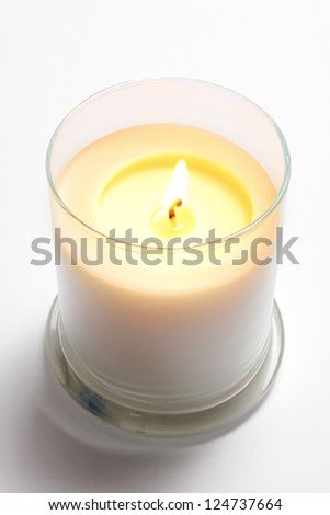 Candle in Glass on Seamless Background - stock photo