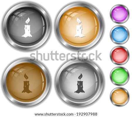 Candle. Internet buttons. - stock photo