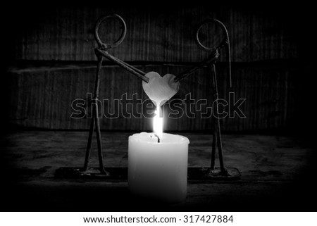 Candle light with love,  Valentine's Day,Black and white - stock photo