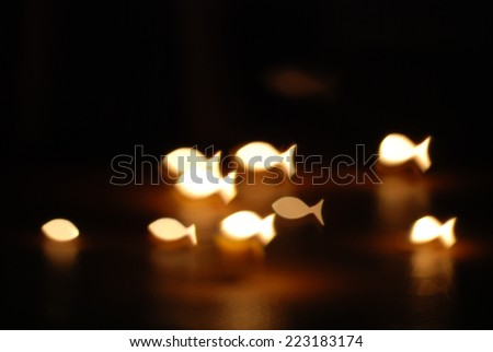candle lights filtered fish background. - stock photo