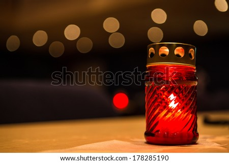 candle on the table - stock photo