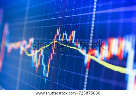 Candle stick graph chart of stock market investment trading. Conceptual view of the foreign exchange market. Stock trade live. Background stock chart. Blue screen of finance data.