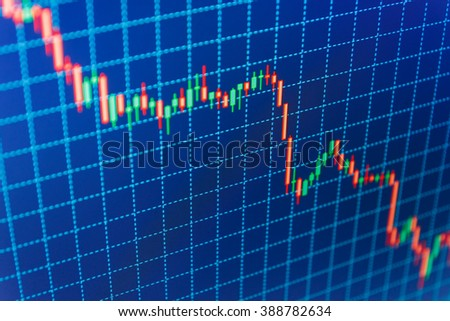 Candle stick graph chart of stock market investment trading. Price chart bars. Professional market analysis. Analysing stock market data on a monitor. Data on live computer screen.