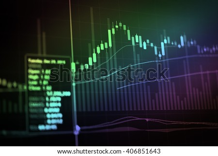 Candle stick graph chart of stock market investment trading. The Forex graph chart on the digital screen.