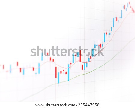 Candle stick graph chart of stock market trading, uptrend pattern, background - stock photo