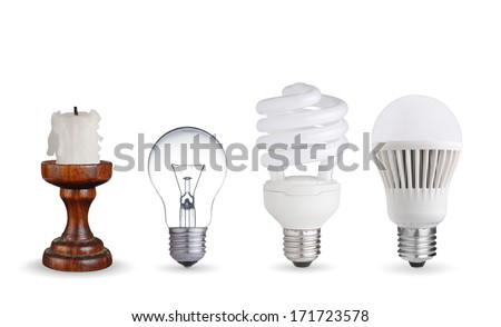 Candle, tungsten bulb,fluorescent bulb and LED bulb - stock photo