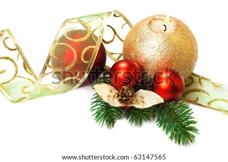 Candle with Christmas decorations, on white background. - stock photo