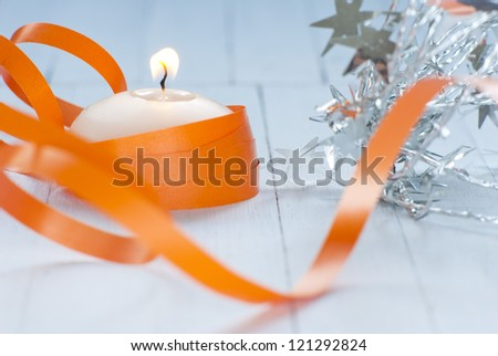 candle with ribbon - stock photo