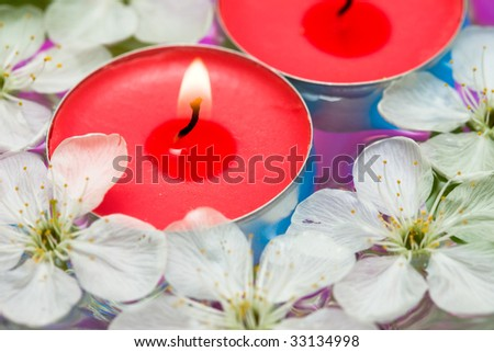 Candle with spring flowers in water