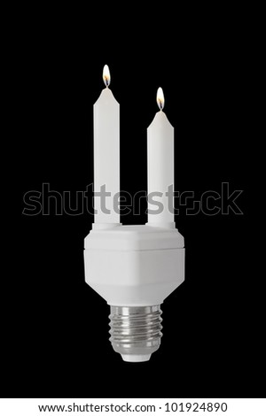 Candlelight in energy saving bulb isolated on black clipping path included. - stock photo