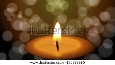 Candlelight with Lights on Background - stock photo