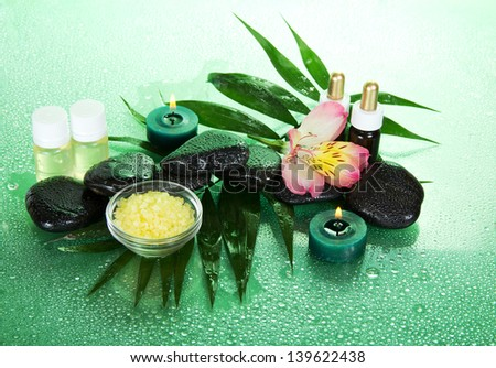 Candles and aroma oil, salt, stones and a flower on a leaf howea, on a green background