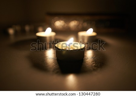 Candles and bokeh background - stock photo