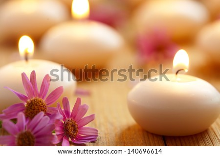 Candles and flowers. Spa - stock photo