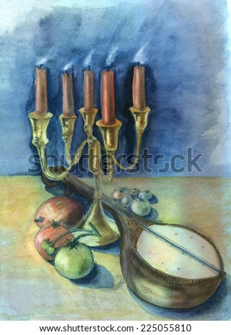 Candles and mandolin. Original watercolor and gouache painting.  - stock photo